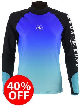 40% OFF - Aqua Lung Rash Vest - Blue Ladies Long Sleeve - Size M
