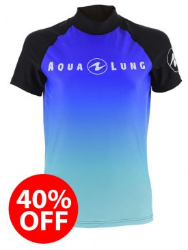 40% OFF - Aqua Lung Rash Vest - Blue Ladies Short Sleeve