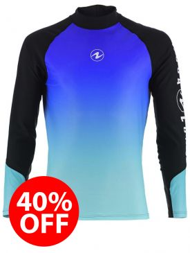 40% OFF - Aqua Lung Rash Vest - Blue Mens Long Sleeve