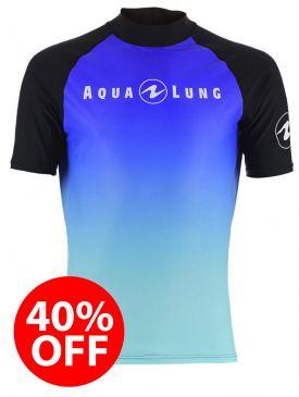 40% OFF - Aqua Lung Rash Vest - Blue Mens Short Sleeve