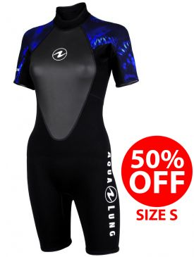 50% OFF - Aqua Lung Mahe Womens Shorty 3mm Wetsuit - Size S