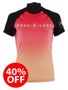 40% OFF - Aqua Lung Rash Vest - Pink Ladies Short Sleeve