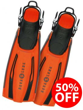 50% OFF - Aqua Lung Stratos Adjustable Fin - Orange, Small