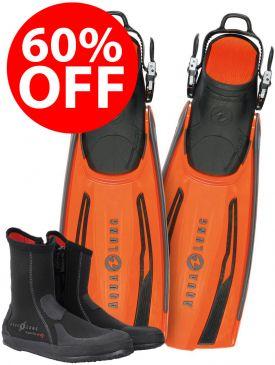 60% OFF - Aqua Lung Stratos Adjustable Fins Orange & Superzip Boots