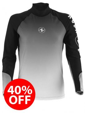 CLEARANCE - 40% OFF - Aqua Lung Rash Vest - White Mens Long Sleeve - Size S