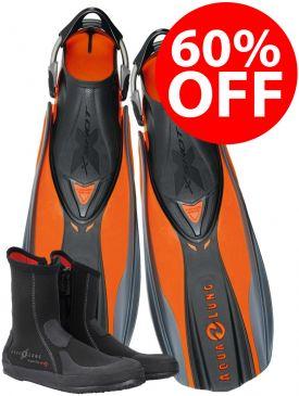 60% OFF - Aqua Lung X-Shot Fins & Superzip Boots