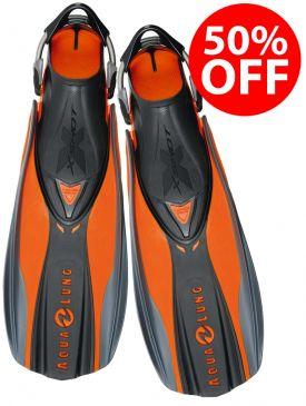 50% OFF - Aqua Lung X-Shot Fins - Orange, Small