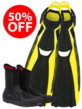 50% OFF - Aqua Lung Phazer Fins & Superzip Boots
