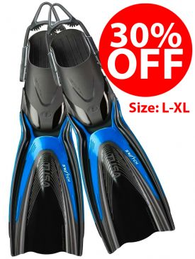 CLEARANCE - 30% OFF - TUSA Hyflex Switch Fins (SF-0104) - Blue, L-XL