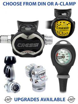 Cressi T10 SC Cromo Master Cromo Regulator, Compact Octopus & Gauge