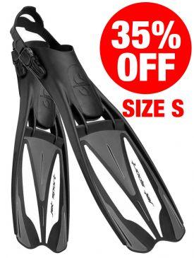 CLEARANCE - 35% OFF - Scubapro Jet Sport Adjustable Fins - Black/Silver - Size Small