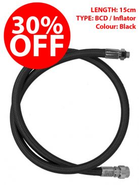 CLEARANCE - 30% OFF - Miflex Xtreme LP BCD / Inflator Hose - Black, 15cm