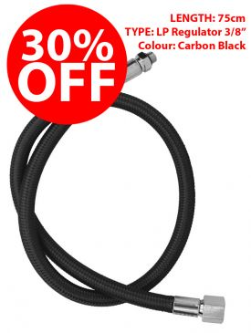 "CLEARANCE - 30% OFF - Miflex Xtreme LP Regulator Hose 3/8"" - Carbon Black, 75cm"