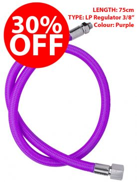 "CLEARANCE - 30% OFF - Miflex Xtreme LP Regulator Hose 3/8"" - Purple, 75cm"