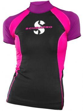 Scubapro T-Flex Rash Guard Womens Short Sleeve - Black/Pink
