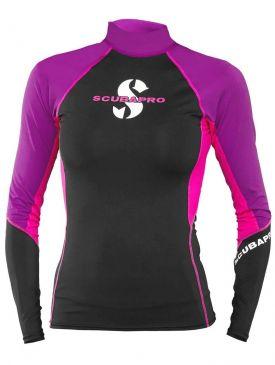 Scubapro T-Flex Rash Guard Womens Long Sleeve - Black/Pink