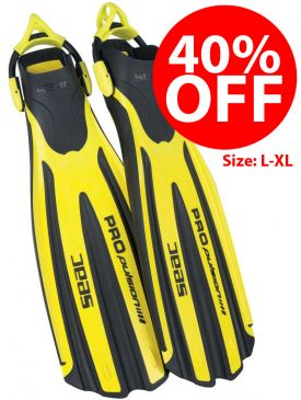 CLEARANCE - 40% OFF - Seac Sub Propulsion S Fins - Yellow, L-XL