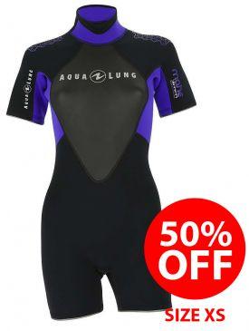 50% OFF - Aqua Lung Mahe Ladies Shorty 3mm Wetsuit - Size XS