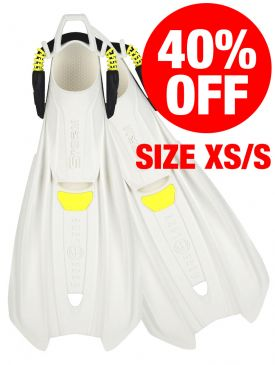 CLEARANCE - 40% OFF - Aqua Lung Storm Fins - XS/S, White/Yellow