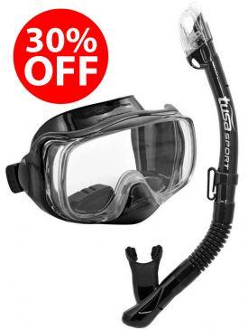 30% OFF - TUSA Mini-Kleio Youth Mask and Snorkel Set - Black/Black