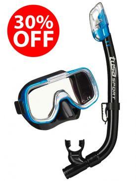 30% OFF - TUSA Mini-Kleio Youth Mask and Snorkel Set - Black/Blue