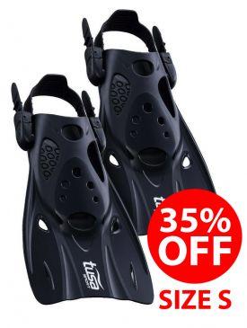 35% OFF - TUSA Short Blade Snorkel Fins (UF-0103) - Size S, Black