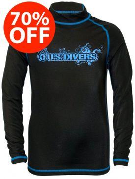 US Divers Kids Unisex Rashguard - Blk/Sky